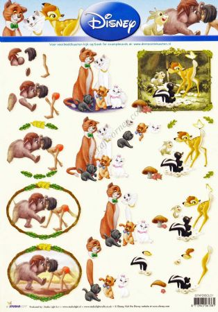 Disney Classic Films 1 The Jungle Book, Lady & The Tramp and Bambi 3d Decoupage Sheet